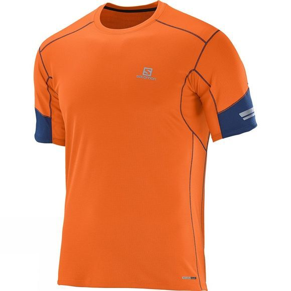Salomon Men's Agile Short Sleeve Tee Clementine-X / Midnight Blue