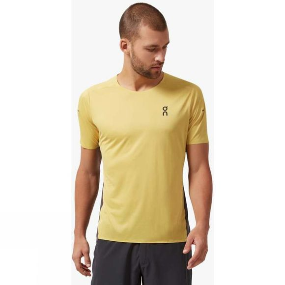 On Mens Performance-T Mustard/Pebble