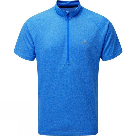 Ronhill Mens Everyday Short Sleeve 1/2 Zip Tee Electric Blue Marl