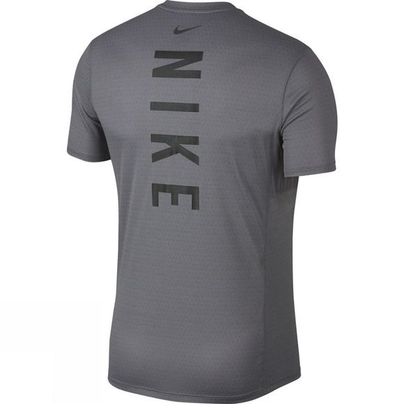 Nike Mens Miler Tech Short Sleeve Top  Gunsmoke/Heather/Atmosphere Grey