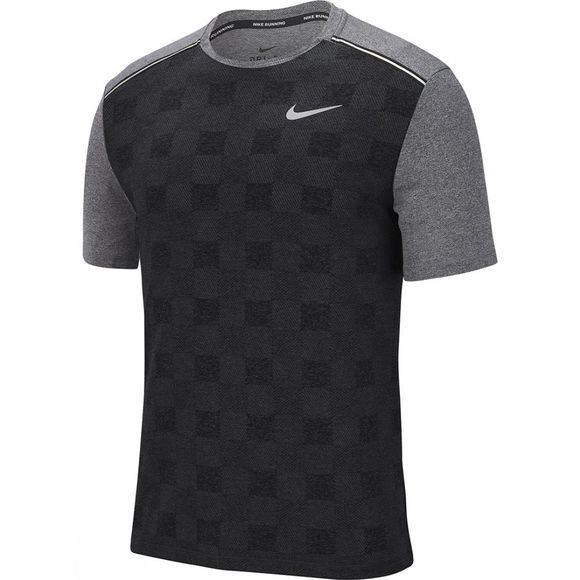 Nike Men's Dry Fit Miler Short Sleeve Top Black/Particle Grey