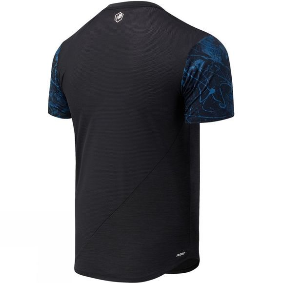 New Balance Mens Printed Velocity Short Sleeve Tee Cobalt Pattern