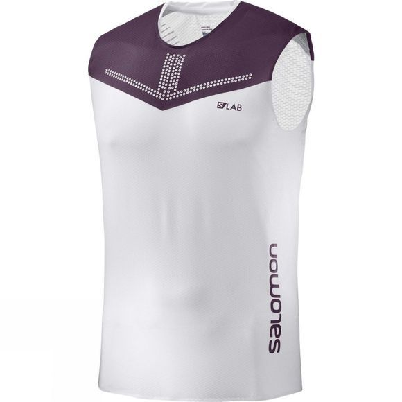 Salomon Mens S-Lab Sense Tank White/Maverick