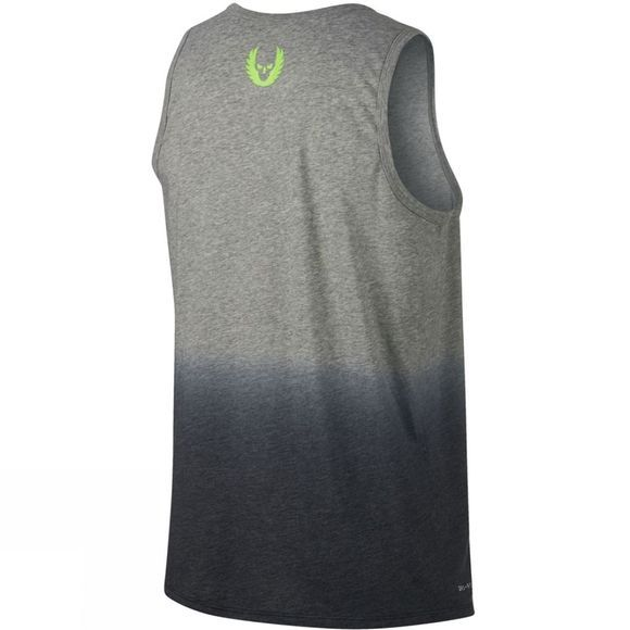 Nike Men's Nike Dry Tank Double Run DK GREY HEATHER/BLACK/ELECTRIC GREEN