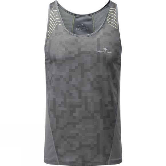 Ronhill Mens Stride Racer Vest Grey/Fluo Yellow