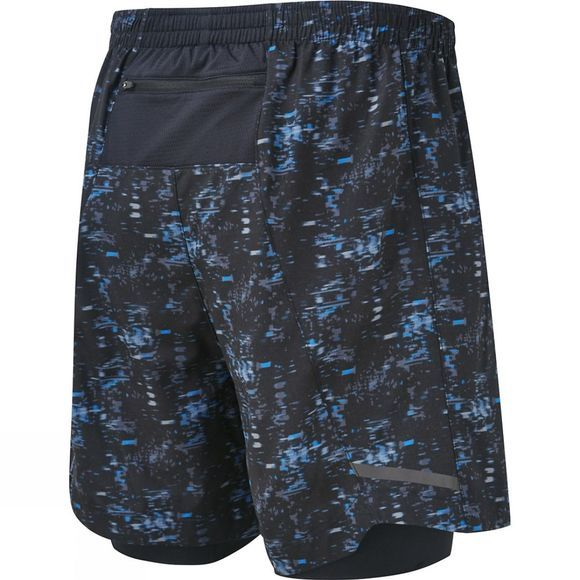 "Ronhill Men's Momentum Twin 5"" Shorts Blk/Elec Blue Bokeh"