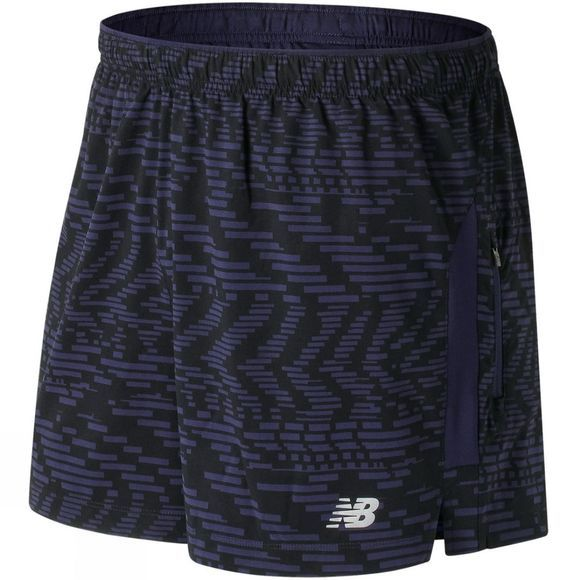 "New Balance Mens Impact 5"" Track Short Print Speed Glitch/Vintage Indigo"