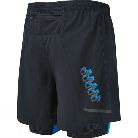 Ronhill Mens Stride Twin 5in Short Black/Electric Blue