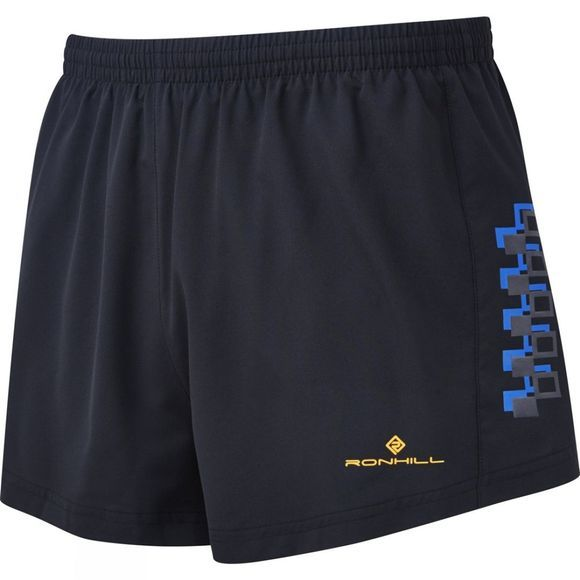 Ronhill Mens Stride Cargo Racer Short Black/Electric Blue