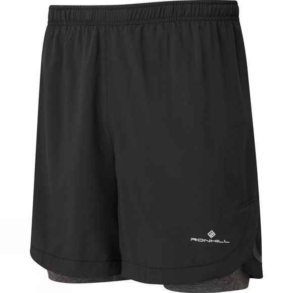 "Ronhill Men's Momentum Twin 7"" Short Black/Grey Marl"