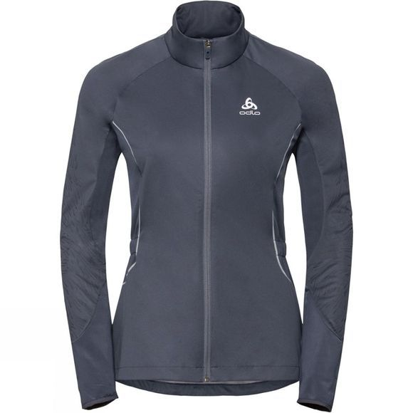 Odlo Womens Zeroweight Windproof Reflect Warm Jacket Odyssey Gray - Placed Print Fw18