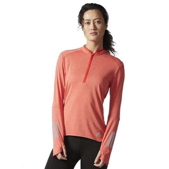 Adidas Women's Response Long Sleeve Zip Tee CPRE RED