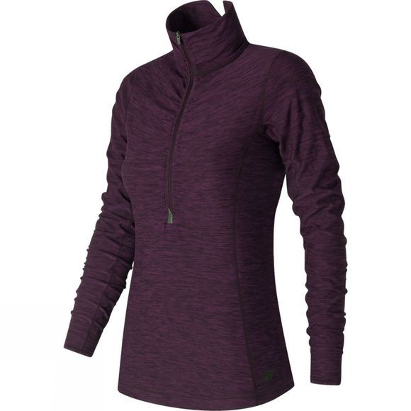 New Balance Womens In Transit Half Zip Black Rose Heather