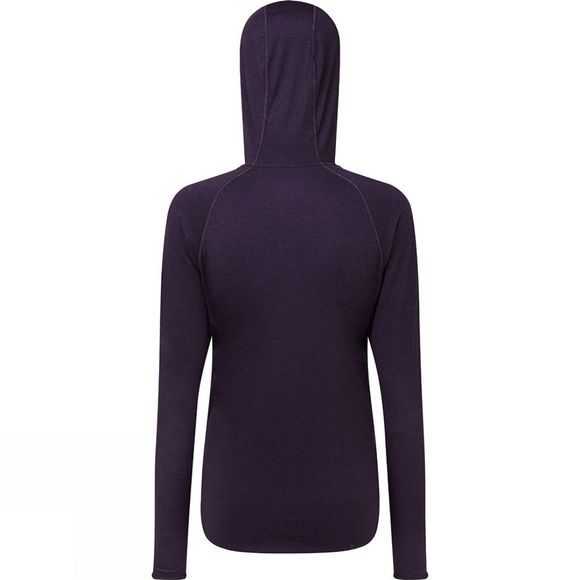 Ronhill Womens Momentum Workout Hoodie  Blackberry Marl/Aquamint