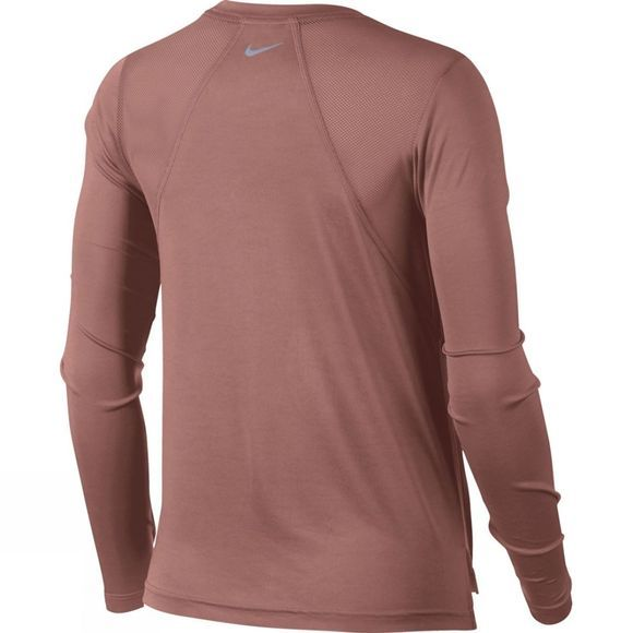 Nike Womens Miler Long Sleeve Top Rust Pink