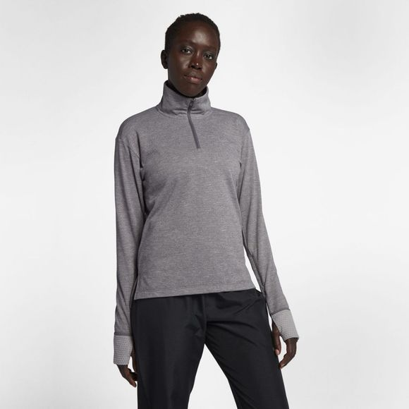 Nike Womens Therma Sphere Half Zip Running Top Gunsmoke Heather