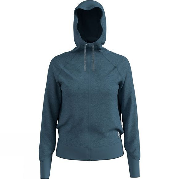Odlo Womens Alma Natural Full Zip Midlayer Hoody Mid Blue