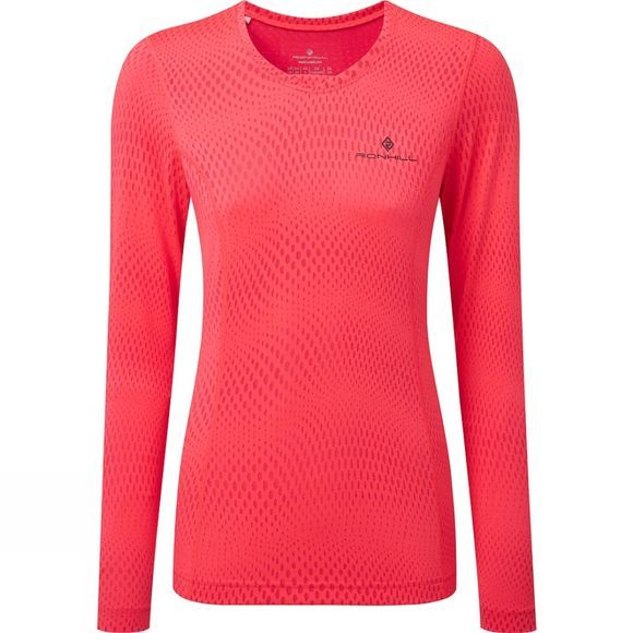 Ronhill Women's Stride L/S Tee Hot Pink/Charcoal