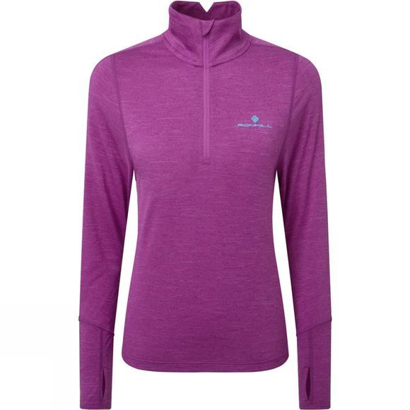Ronhill Women's Stride Thermal Half Zip Tee Thistle Marl/Aquamint