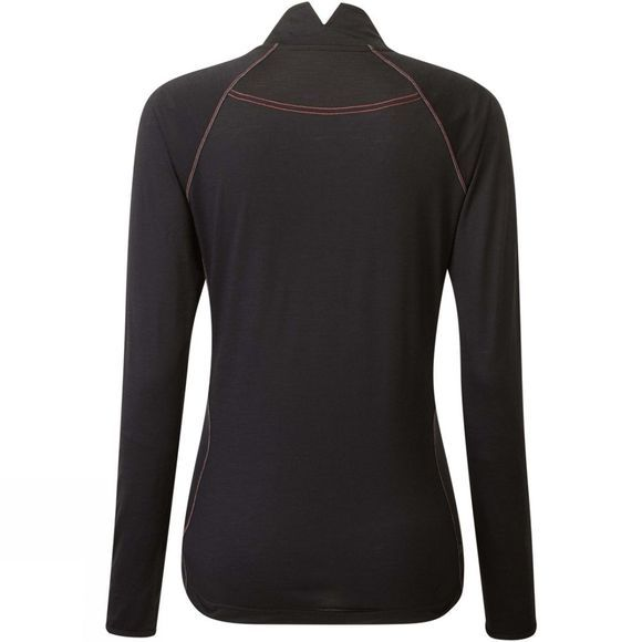 Ronhill Womens Tech Merino 1/2 Zip Tee Black/Hot Pink