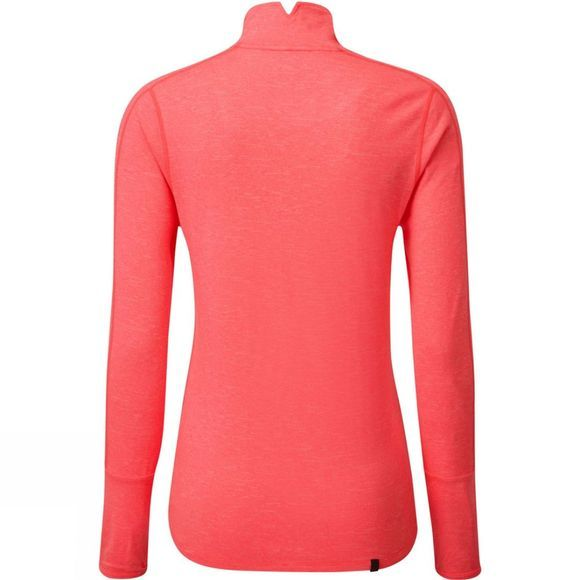 Ronhill Womens Tech Thermal L/S Zip Tee Hot Pink Marl/Chambray