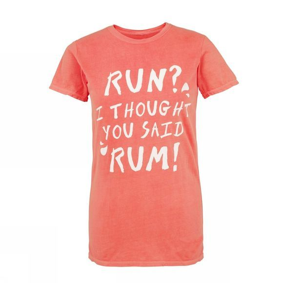 Runners Need Women's 'Rum' Slogan T-Shirt Neon Red Orange