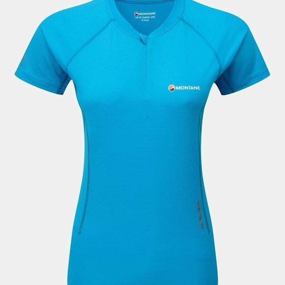 Montane Womens Snap Zip T-Shirt Cerulean Blue