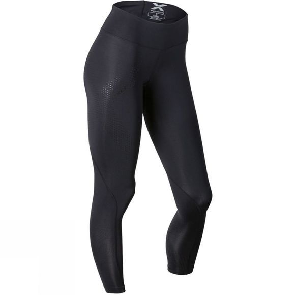 2XU Women's Mid-Rise Compression Tight Black/Dotted Black Logo