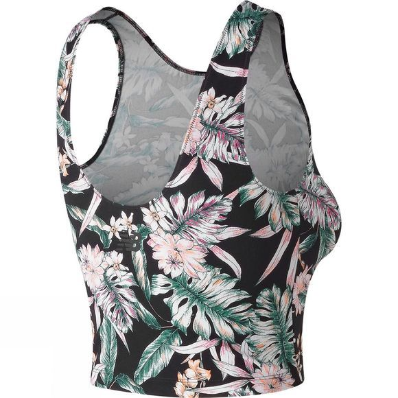 New Balance Women's Printed Evolve Crop Tank Black Multi