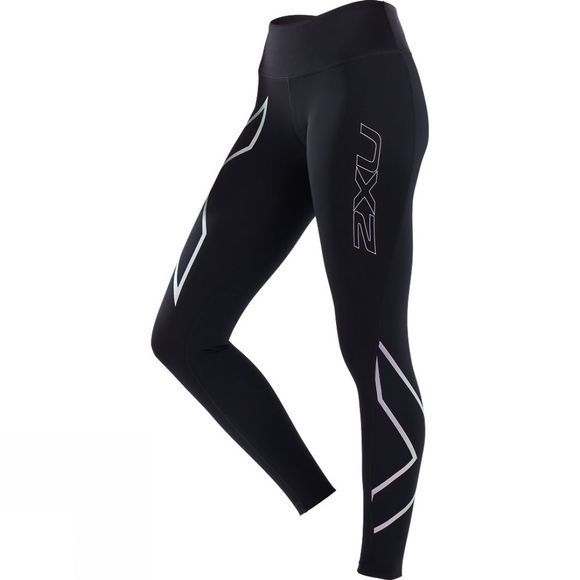 2XU Women's Mid-Rise Compression Tight Black/Metallic Pink