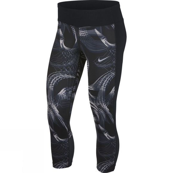 Nike Womens Power Running Crops Gunsmoke/Black