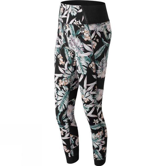 New Balance Womens Printed Evolve Tights Black Print