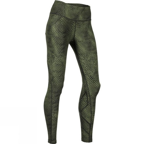 2XU Womens Print Mid-Rise Compression Tights Reverse Mesh Olive/Black