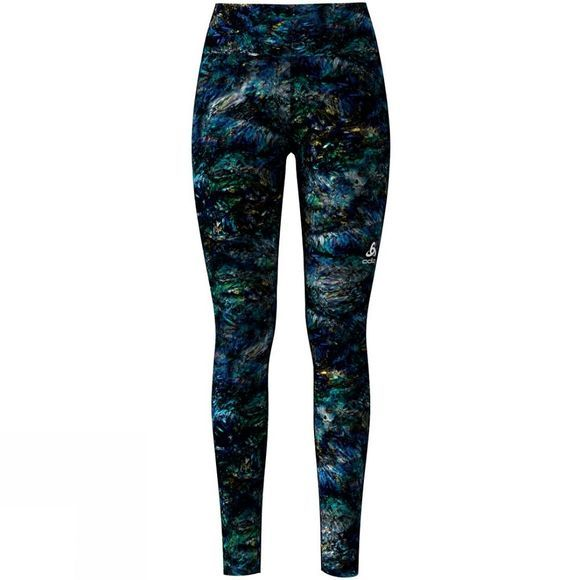 Odlo Womens Element Light AOP Tights Energie Blue Multi