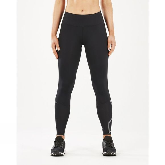 2XU Womens Run Mid Rise Compression Tights Black/Silver