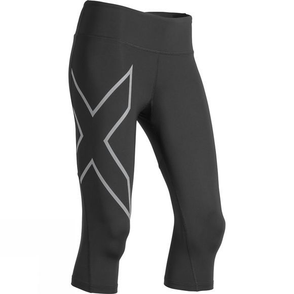 2XU Women's Run Mid-Rise Compression 3/4 Tights Black/Silver