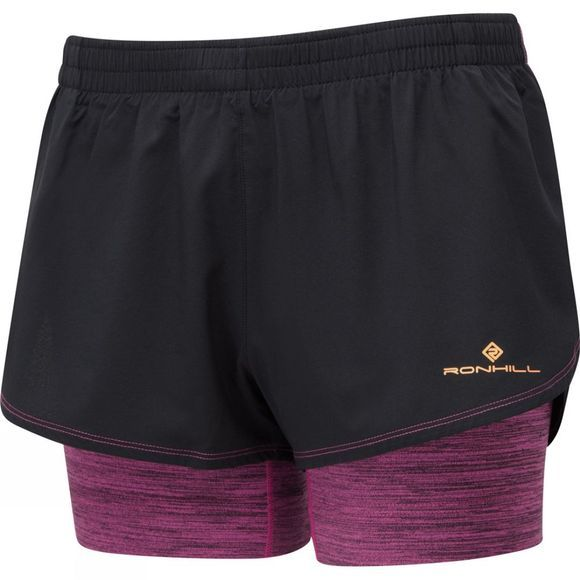 Ronhill Women's Stride Twin Short Black/Razzmatazz Marl