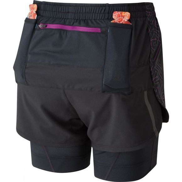 Ronhill Womens Infinity Marathon Twin Short Black/Hot Coral