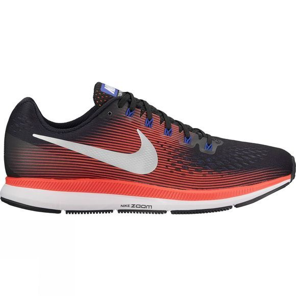 Nike Mens Air Zoom Pegasus 34 Black/Metallic Silver-Bright Crimson