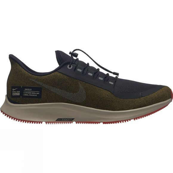 Nike Mens Pegasus 35 Shield Olive Flak/Metallic Silver-Black-String