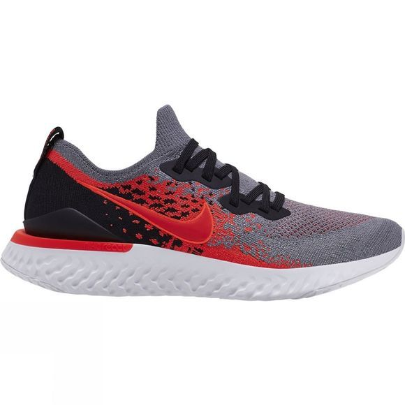 Nike Mens Epic React Flyknit 2 COOL GREY/BRIGHT CRIMSON-BLACK-WHITE