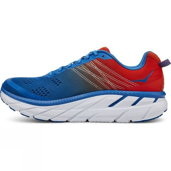 Hoka One One Mens Clifton 6 (Wide) Mandarin Red / Imperial Blue