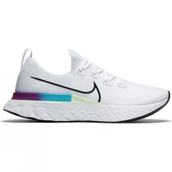 Nike  Men's Epic React Infinity Run Flyknit White/Black-Vapor Green-Oracle Aqua