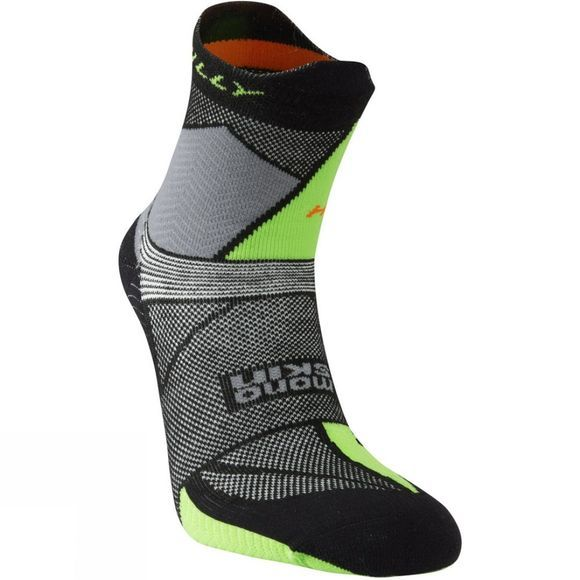 Hilly Ultra Marathon Fresh Sock Black/Grey/Lime Green