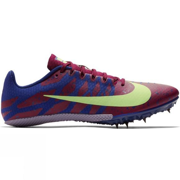 Nike Mens Zoom Rival S 9 Spikes Bordeaux/Lime Blast-Regency Purple