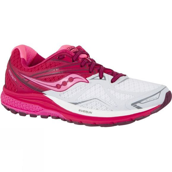 Saucony Womens Ride 9 White/Berry/Pink
