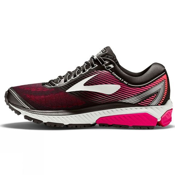 Brooks Womens Ghost 10 Black/Pink Peacock/Living Charcoal