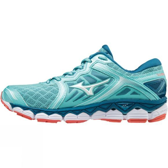 Mizuno Womens Wave Sky Aqua Splash/White/ Hot Coral