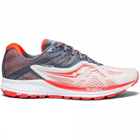 Saucony Womens Ride 10 White Fog/Vizired
