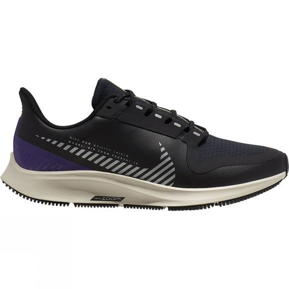 Nike Women's Pegasus 36 Shield BLACK/SILVER-DESERT SAND-VOLTAGE PURPLE